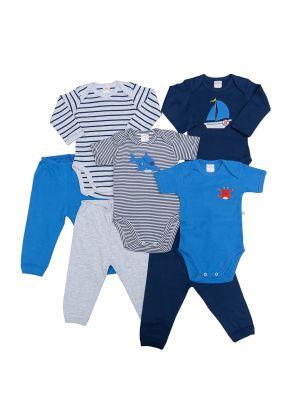 Kit 7 Peças Body E Calça Best Club Baby Azul Marinho E Azul Com Bordado Náutico