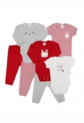 Kit 7 peças body e calça Best Club Baby branco e vermelho com bordado coelho