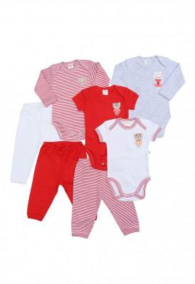Kit 7 Peças Body E Calça Best Club Baby Branco E Vermelho Com Bordado Gato