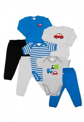 Kit 7 peças body e calça Best Club Baby cinza claro e azul com bordado carro
