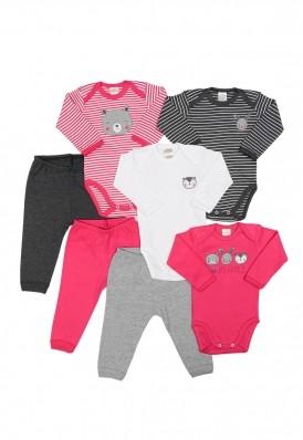 Kit 7 peças body e calça Best Club Baby pink e grafite com bordado bichos