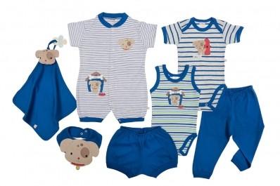 Kit 7 Peças Macacão, Body, Regata, Calça, Shorts, Babador E Cheirinho Best Club Baby Azul Com Bordado Cachorro