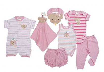 Kit 7 peças macacão, body, regata, calça, shorts, babador e cheirinho Best Club Baby rosa com bordado cachorro