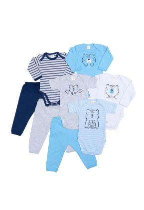 Kit 8 Peças Body E Calça Best Club Baby Azul Claro, Cinza E Azul Marinho Com Bordado Urso