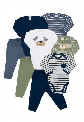 Kit 8 peças body e calça Best Club Baby azul marinho e verde com bordado cachorro