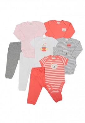 Kit 8 peças body e calça Best Club Baby cinza, branco e rosa goiaba com bordado urso