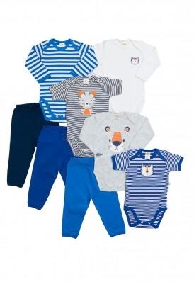 Kit 8 peças body e calça Best Club Baby cinza claro, azul marinho e azul com bordado tigre