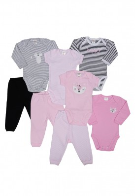 Kit 8 peças body e calça Best Club Baby cinza e rosa com bordado raposa