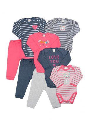 Kit 8 peças body e calça Best Club Baby pink e azul jeans com bordado urso