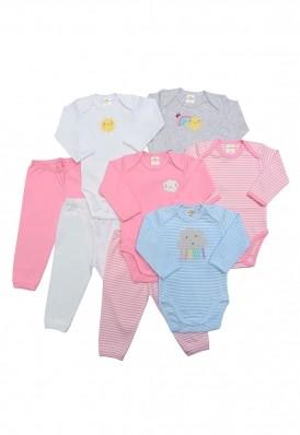 Kit 8 peças body e calça Best Club Baby rosa e branco com bordado sol e nuvem