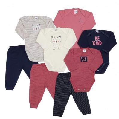Kit 8 peças body manga longa e calça Best Club Baby cereja, creme e azul marinho