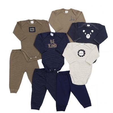 Kit 8 peças body manga longa e calça Best Club Baby verde, creme e azul marinho com bordado Leão