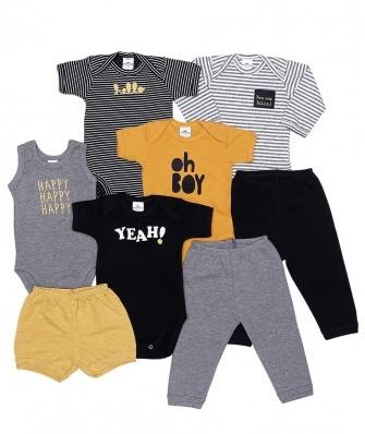 Kit 8 peças body manga longa, manga curta e regata, calça e shorts Best Club Baby grafite, preto e amarelo com bordado escritas