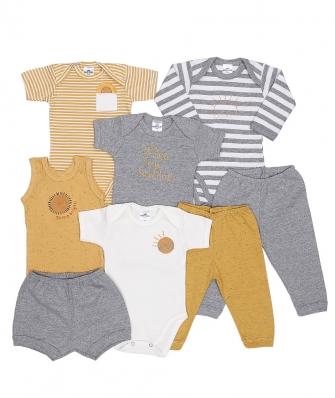 Kit 8 peças body manga longa, manga curta e regata, calça e shorts Best Club Baby off white, cinza mesclado e amarelo com bordado de sol