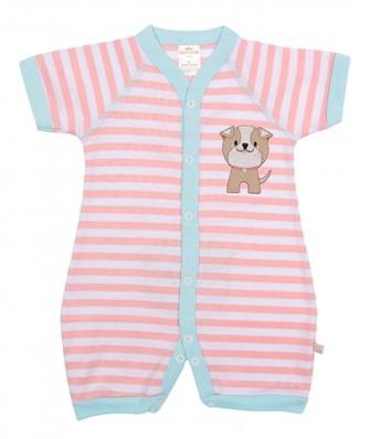 Macacão Best Club Baby listrado branco com rosa e azul turquesa bordado cachorro