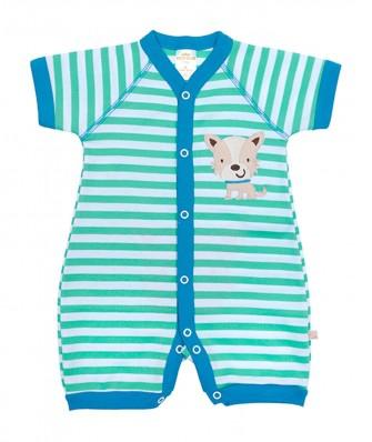 Macacão Best Club Baby verde e azul bordado cachorro