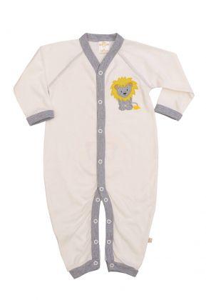 Macacão longo Best Club Baby creme e cinza com bordado leão