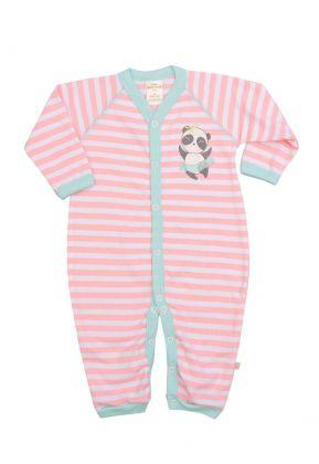 Macacão longo Best Club Baby listrado rosa e branco com bordado panda