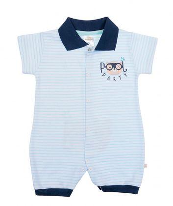 Macacão polo Best Club Baby listrado branco com azul bebê e azul marinho bordado urso