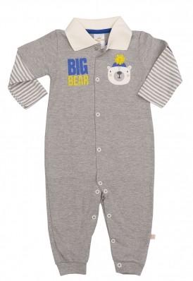 Macacão polo longo Best Club Baby cinza com bordado urso