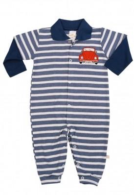 Macacão polo longo Best Club Baby listrado azul jeans e branco com bordado carro