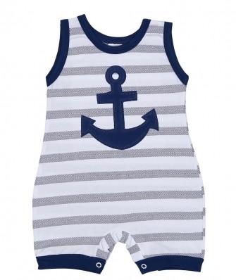 Macacão regata Best Club Baby azul marinho e branco com bordado de âncora