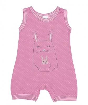 Macacão regata Best Club Baby rosa e branco com bordado coelho