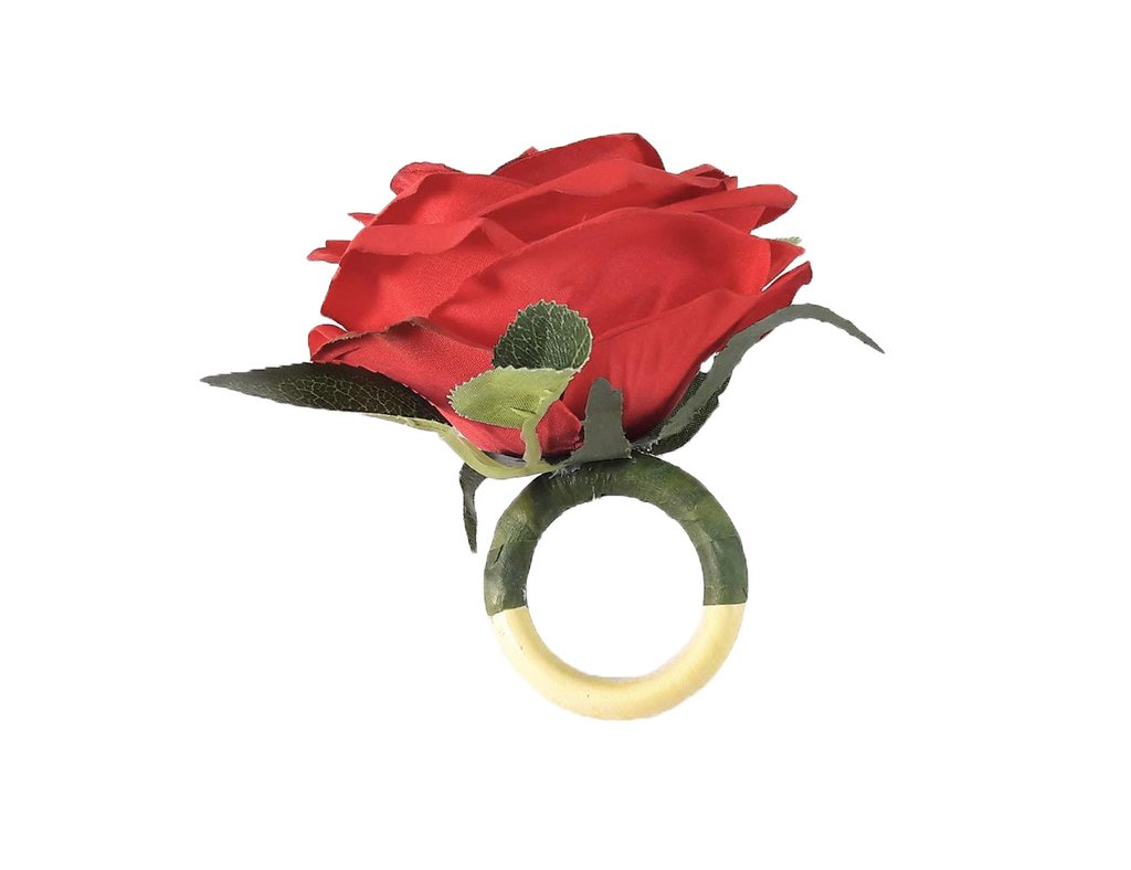 Anel de Guardanapo Primavera Rosa Vermelha