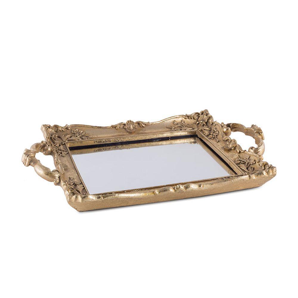 Bandeja de Resina Dourada com Espelho 33cm