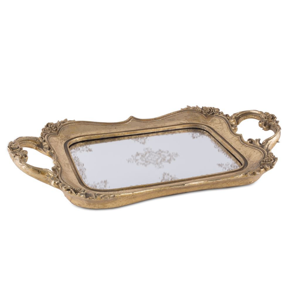 Bandeja de Resina Dourada com Espelho Provençal 33cm