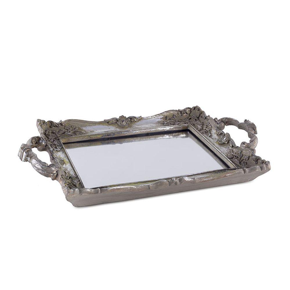 Bandeja de Resina Prata com Espelho 33cm