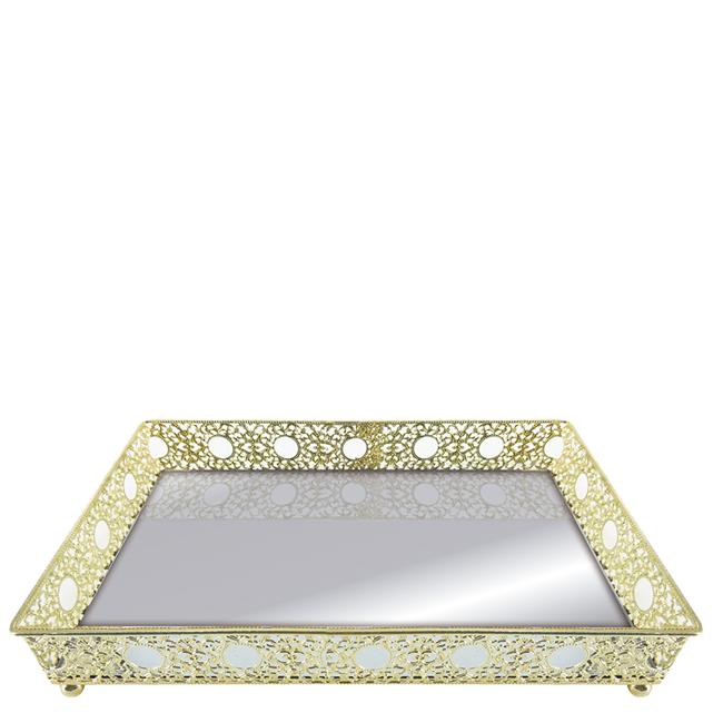 Bandeja Espelhada 25cm Retangular Dourada