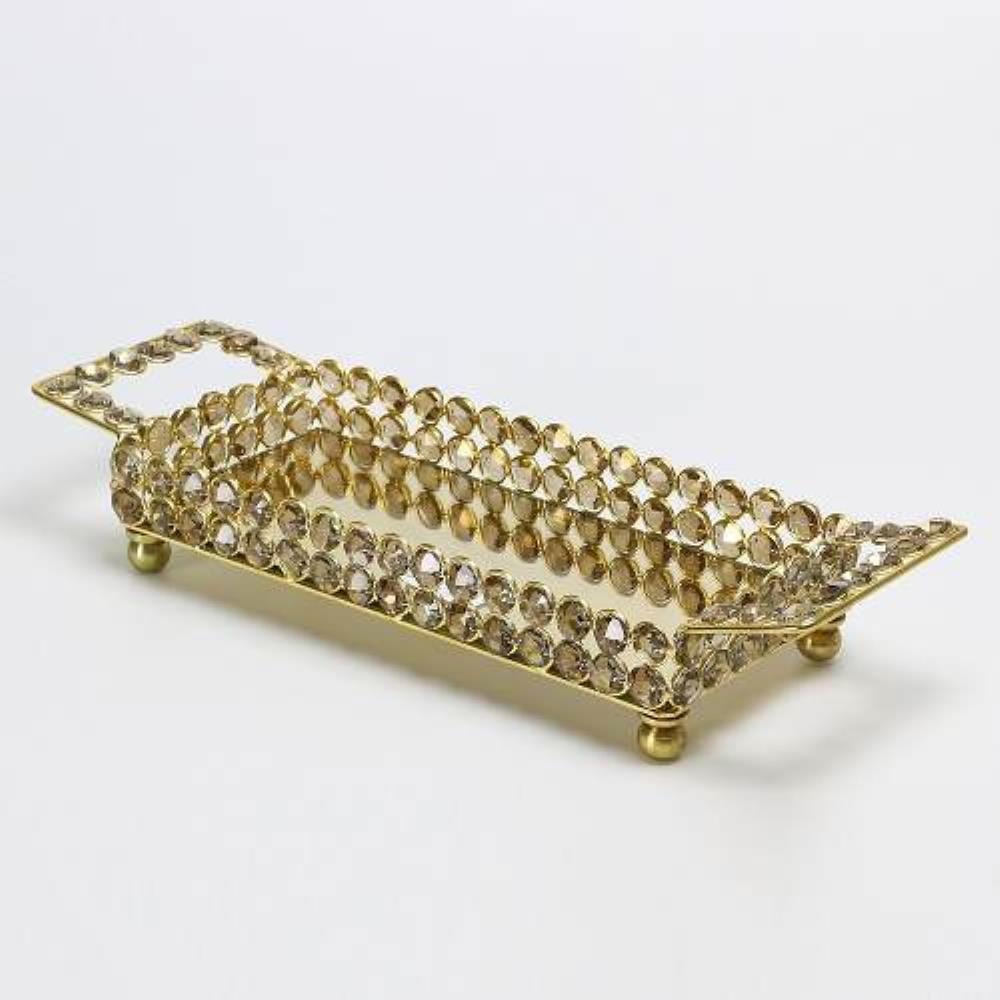 Bandeja Retangular de Cristal Dourada com Espelho e Alça