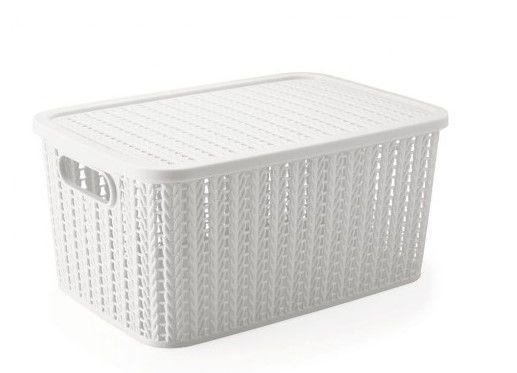Caixa Organizadora com Tampa Branca Trama 39x18 cm