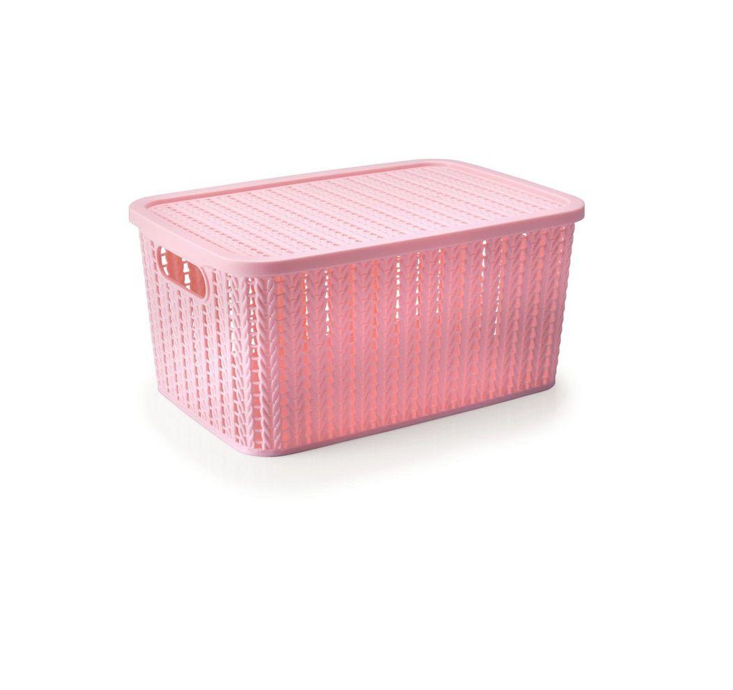 Caixa Organizadora com Tampa Rosa Trama 27x12 cm