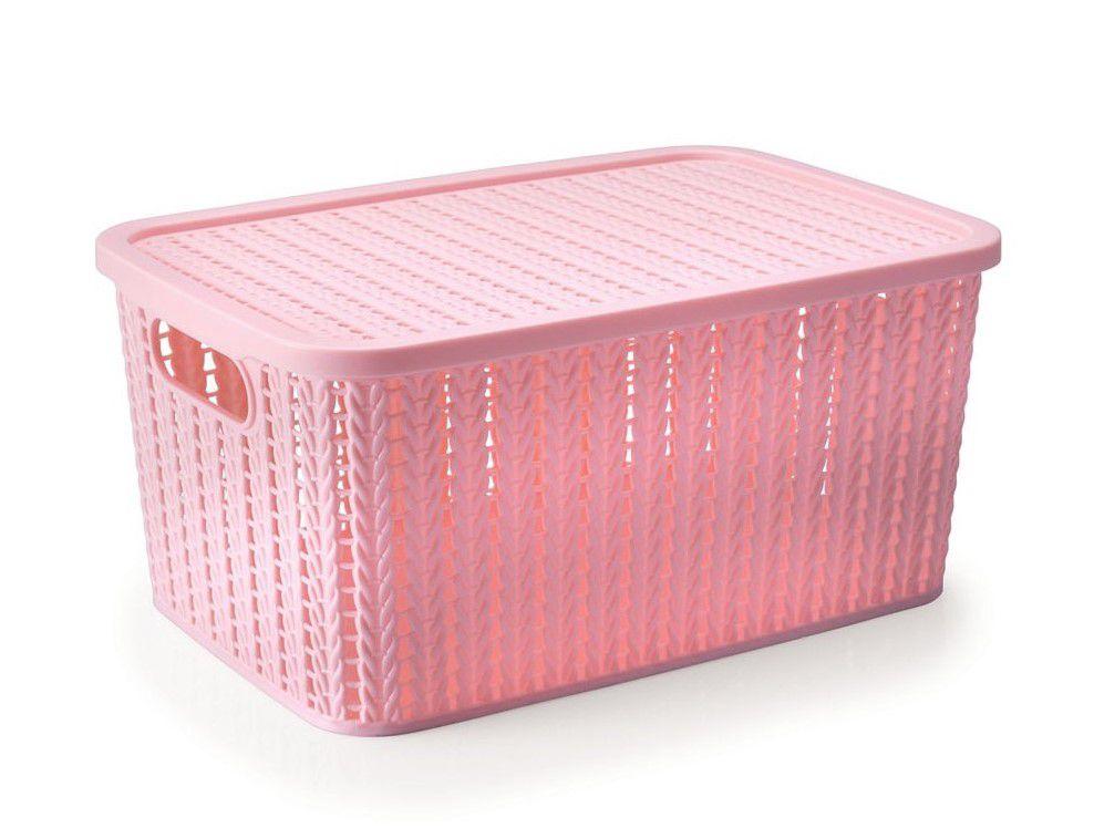 Caixa Organizadora com Tampa Rosa Trama 39x18 cm