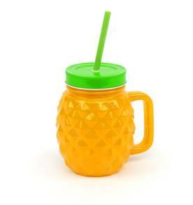 Caneca de Vidro com Canudo Pineapple