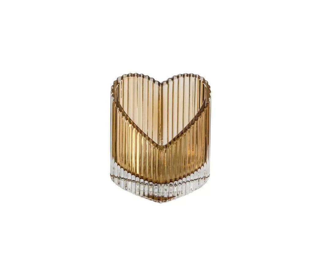 Castiçal de Coração Ambar 8,2cm