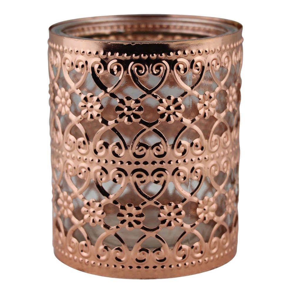 Castiçal de Metal e Vidro Bronze 8,5x10cm