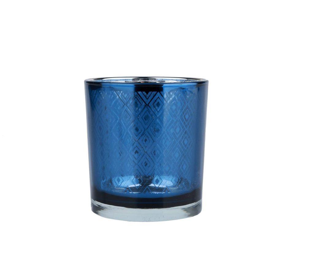 Castiçal de Vidro Bright Azul Indigo