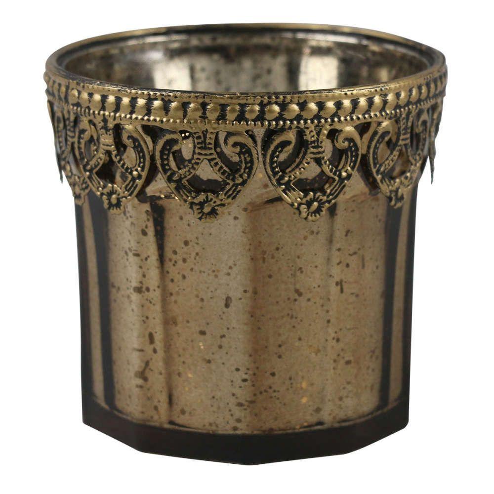 Castiçal de Vidro Cromado e Metal Dourado 10x10cm