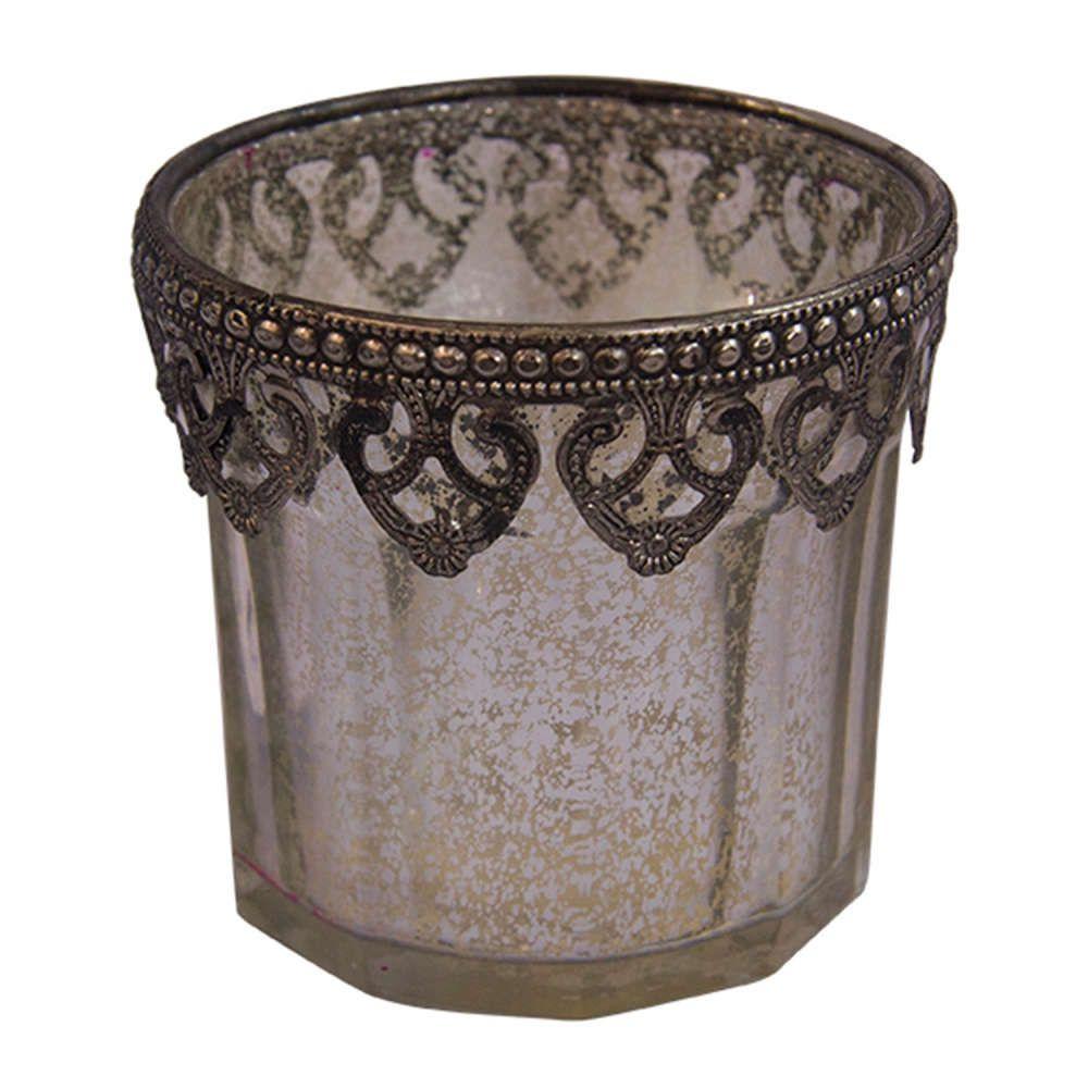 Castiçal de Vidro Cromado e Metal Transparente 10x10cm
