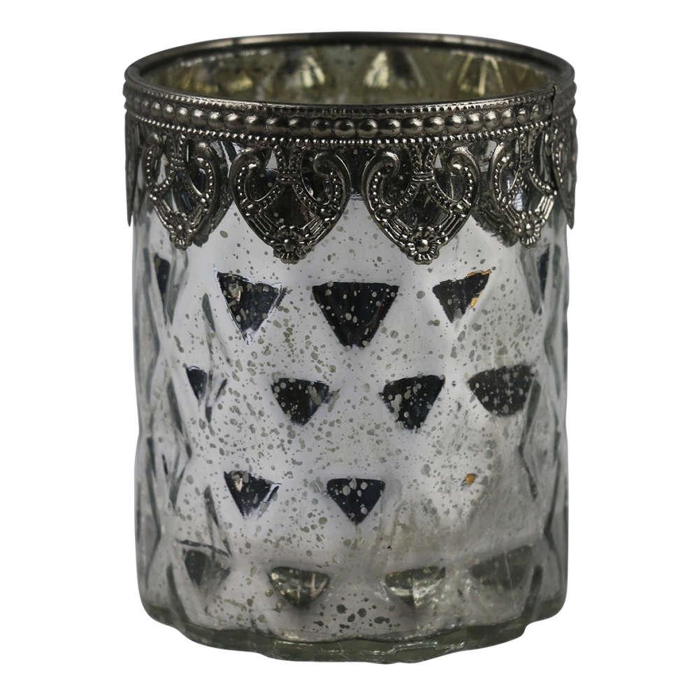 Castiçal de Vidro Cromado e Metal Transparente 9,5x14cm