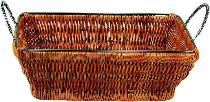 Cesta de Palha Retangular com Alça 24x18cm