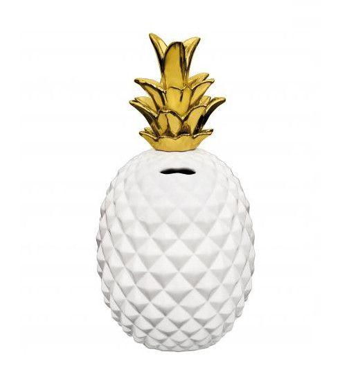 Cofre Abacaxi Branco e Dourado
