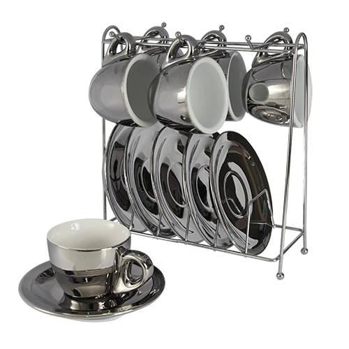 Conjunto 12pçs de Xícaras de Café com Pires e Suporte Cromado