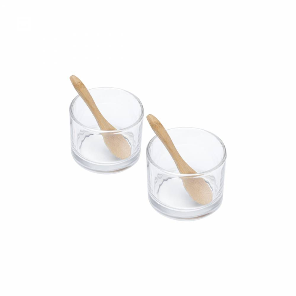 Conjunto de 2 Molheiras com 2 Colheres de Bambu