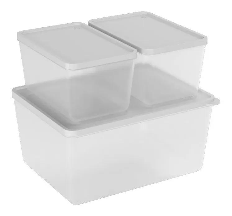 Conjunto de 3 Potes Para Freezer e Microondas