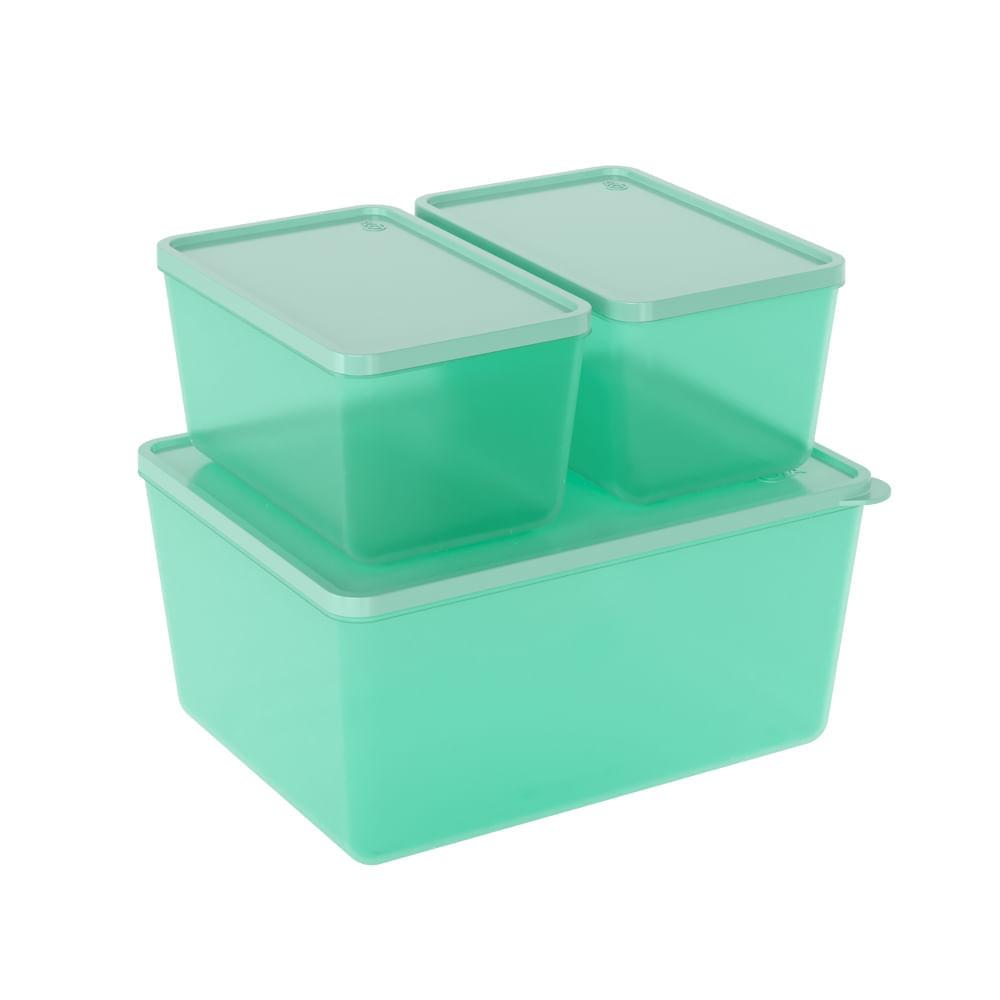 Conjunto de 3 Potes Para Freezer e Microondas Verde
