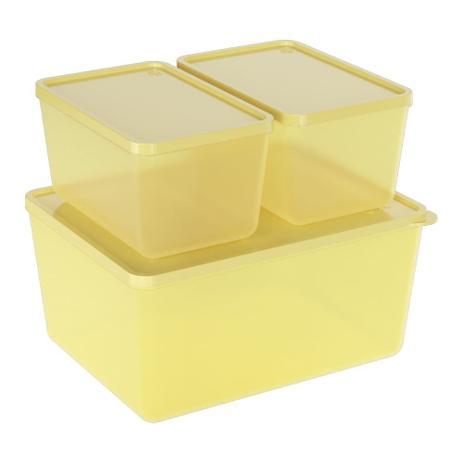 Conjunto de 3 Potes Para Freezer e Microondas Amarelo